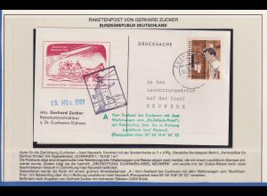 Raketenpost-Beleg von GERHARD ZUCKER (1908-1985), Cuxhaven nach Neuwerk, 1961