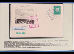 Raketenpost-Beleg von GERHARD ZUCKER (1908-1985), Sonderrakete Cuxhaven 1961