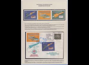 Raketenpost-Beleg von G. ZUCKER (1908-1985) und Dreierstreifen Raketen-Vignetten