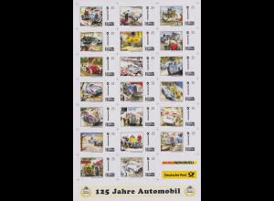Bundesrepublik Marke-Individuell 125 Jahre Automobil Folienbogen 20 Werte