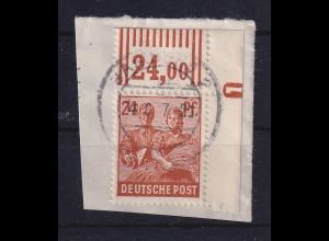 Alliierte Besetzung Arbeiter 24 Pf Mi.-Nr.951 Ecke OR mit DZ 1 negativ O Hamburg