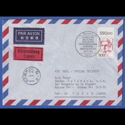 Bund 1989 Alice Salomon Mi.-Nr. 1397 Oberrandstück auf FDC nach Tokio