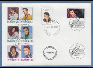 John Lennon 8 Sondermarken St.Vincent, Antigua&Barbuda, Bundesrep. 1988 a. Brief