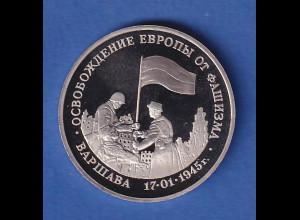 Russland 3 Rubel 50 Jahre Befreiung von Warschau 1995