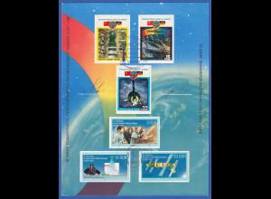 Raumfahrt UDSSR-DDR 1988 Autogramme S. JÄHN und V. BYKOWSKI auf Gedenkblatt