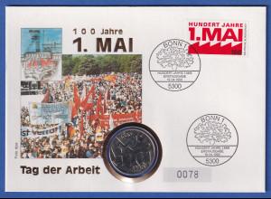 Bund 1990 Numisbrief 100 Jahre 1. Mai mit DDR-Gedenkmünze und BRD-Briefmarke