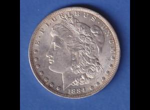 USA Silver Morgan Dollar 1884 - Münzzeichen O