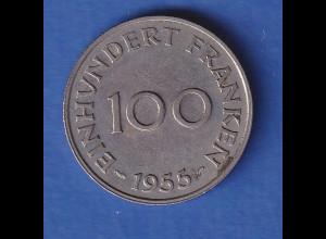 Saarland 1955 Kursmünze 100 Franken