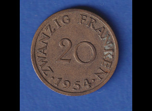 Saarland 1954 Kursmünze 20 Franken