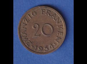 Saarland 1954 Kursmünze, 20 Franken