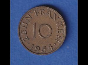 Saarland 1954 Kursmünze 10 Franken