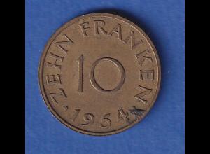 Saarland Kursmünze 10 Franken, 1954