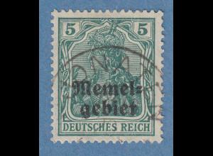 Memelgebiet Germania 5Pfg Mi.-Nr. 1c bläulichgrün O JONATEN gpr. ERDWIEN BPP