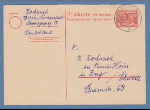 Berlin Berliner Bauten Ganzsache Fragekarte Mi.-Nr. P9F 1954 gel. in die Schweiz