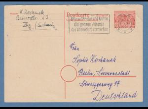 Berlin Berliner Bauten Ganzsache Antwortkarte Mi.-Nr. P9A 1955 gel. aus Schweiz