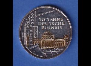 Bundesrepublik 2000 - Deutsche Einheit 15,5g Ag925 nachträglich teilvergoldet