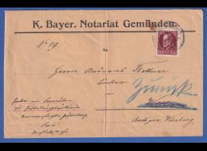 Bayern 50 Pfennig Ludwig III. Mi-Nr. 101 I auf Brief von Gemünden nach Waldbrunn