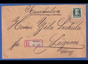 Bayern 60 Pfennig Ludwig III. Mi-Nr. 102 I a auf R-Brief Nürnberg nach Luzern CH