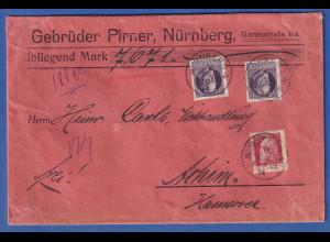 Bayern 80 Pf. Ludwig III. Mi-Nr. 103 I auf Wert-Brief von Nürnberg nach Achim