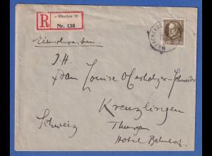 Bayern 40 Pf. Ludwig III. Mi-Nr.100 II A auf R-Brief München n. Kreuzlingen CH