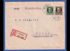 Bayern 40 Pf. Ludwig III. Mi-Nr.100 I A auf R-Brief von Freihung nach Basel CH