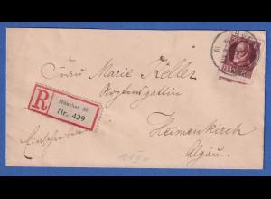 Bayern 50 Pf. Ludwig III. Mi-Nr.101 II A auf R-Brief von München n. Heimenkirch