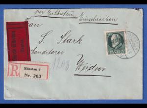 Bayern 60 Pf. Ludwig III. Mi-Nr.102 II A auf Eil-R-Brief von München n. Weiden