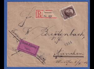 Bayern 1 Mark Ludwig III. Mi-Nr.104 II A auf Eil-R-Brief Traunstein n. München