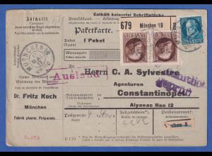 Bayern 1 M Ludwig III. Mi-Nr.104 I Paar a. Paketkarte München n. Constantinopel