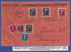 Bayern 3 Mark Ludwig III. Mi-Nr130 I A etc. auf Wertbrief-Vorderseite n. Zwickau