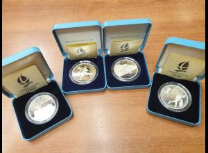 Frankreich 4 Silbermünzen Olympische Spiele Albertville 1992 je 100 Fr. PP proof