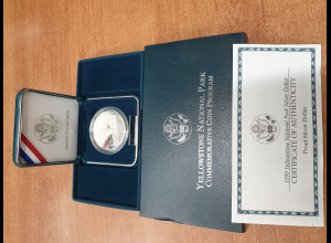 USA Silbermünze 1999 Yellowstone National Park coin PP / proof im Etui
