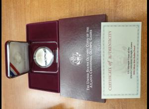 USA Silbermünze 1996 Atlanta Centennial Olympic Games PP / proof im Etui