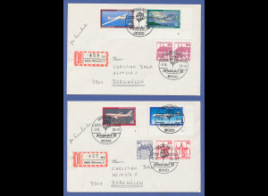 Bundesrepublik Jugend 1980, 4 Ecken m. Formnummer auf 2 Briefen Oktoberfest 1980