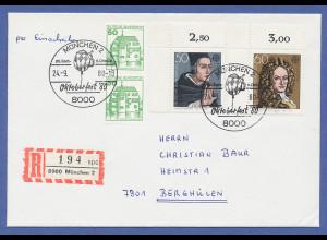 Bundesrepublik Europa 1980, 2 Eckrandstücke auf R-Brief München Oktoberfest 1980