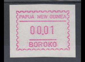 Papua Neuguinea 1990 1. FRAMA-ATM mit Inschrift BOROKO, rauh, Mi.-Nr. 1y **