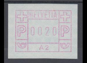 Schweiz 1976, FRAMA-ATM aus Automat A2 , Wertstufe 0020 ** Mi.-Nr. 1.2
