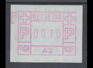 Schweiz 1976, FRAMA-ATM aus Automat A2 , Wertstufe 0010 ** Mi-Nr. 1.2 FB-Fehler
