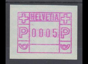 Schweiz 1978, FRAMA-ATM ohne Aut.-Nummer , Wertstufe 0005 ** Mi-Nr. 2