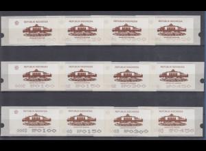 Indonesien ATM 1. Ausgabe 1994, Aut.Nr. 0001, 0002, 0003 je Satz 4 Werte **