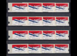 Indonesien ATM 2. Ausgabe 1996, Aut.Nr. 0001 großer Tastensatz 16 Werte ** RRR