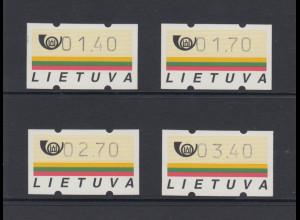 Litauen Klüssendorf-ATM Ausgabe 1995, Satz 1,40-1,70-2,70-3,40 ** Mi.-Nr. 1 S1