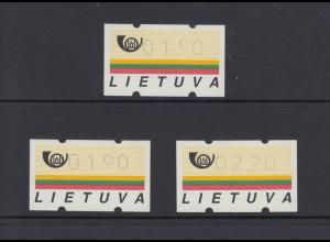 Litauen Klüssendorf-ATM Ausgabe 1995, Satz 1,50-1,90-2,20 ** Mi.-Nr. 1 S2