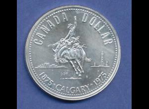 Kanada Silbermünze 1 Dollar 1975 100 Jahre Stadt Calgary, 23,2g 500er Silber