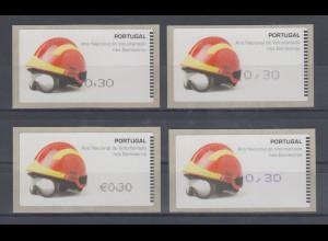Portugal ATM Feuerwehr 2008 in 4 Druckarten, ohne AZUL, Mi.-Nr. 62