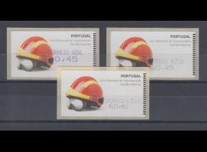 Portugal ATM Feuerwehr 2008, 3 Druckarten, violett, mit AZUL, Mi.-Nr. 62. f Z2