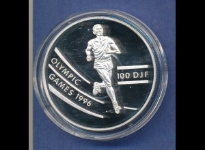 Djibouti 1994 Silbermünze 100 DJF Olympische Spiele Atlanta 1996, Läufer