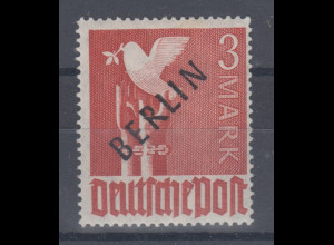 Berlin 1948 Schwarzaufdruck 3 Mark mit Aufdruck-PLF gebrochenes R , sehr selten